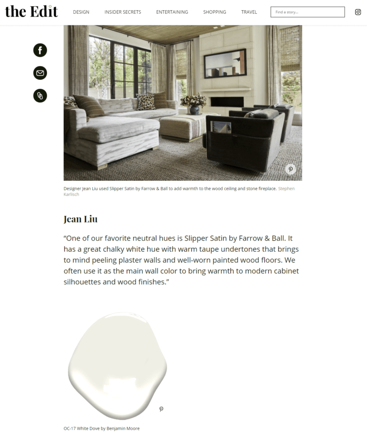 10 Designers Reveal the Best White Paint Colors - Jean Liu